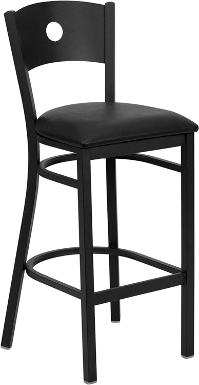 ERGONOMIC HOME TOUGH ENOUGH Series Black Circle Back Metal Restaurant Barstool - Black Vinyl Seat <b><font color=green>50% Off Read More Below...</font></b>