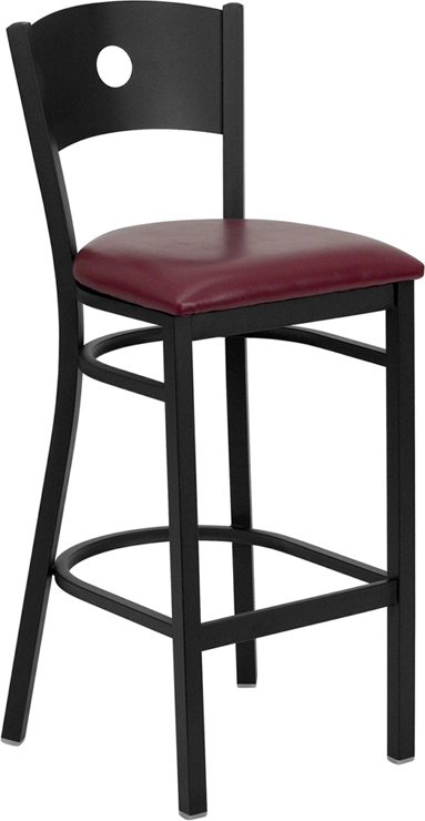 ERGONOMIC HOME TOUGH ENOUGH Series Black Circle Back Metal Restaurant Barstool - Burgundy Vinyl Seat <b><font color=green>50% Off Read More Below...</font></b>