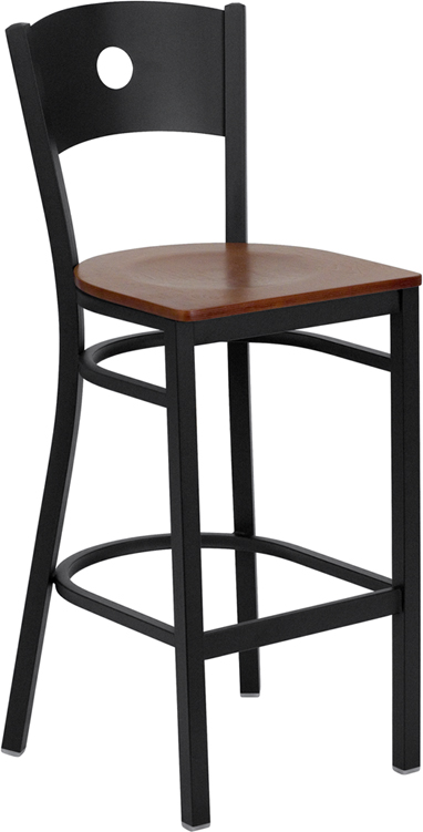 ERGONOMIC HOME TOUGH ENOUGH Series Black Circle Back Metal Restaurant Barstool - Cherry Wood Seat <b><font color=green>50% Off Read More Below...</font></b>