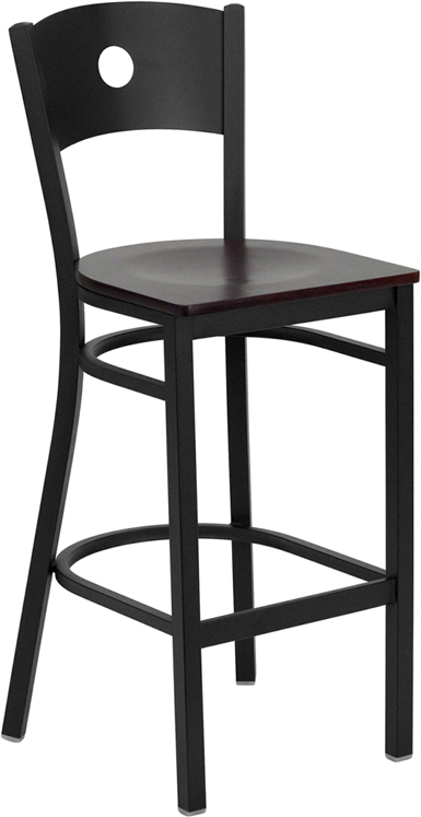 ERGONOMIC HOME TOUGH ENOUGH Series Black Circle Back Metal Restaurant Barstool - Mahogany Wood Seat <b><font color=green>50% Off Read More Below...</font></b>
