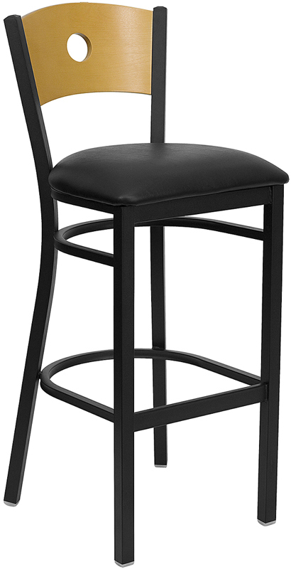 ERGONOMIC HOME TOUGH ENOUGH Series Black Circle Back Metal Restaurant Barstool - Natural Wood Back, Black Vinyl Seat <b><font color=green>50% Off Read More Below...</font></b>
