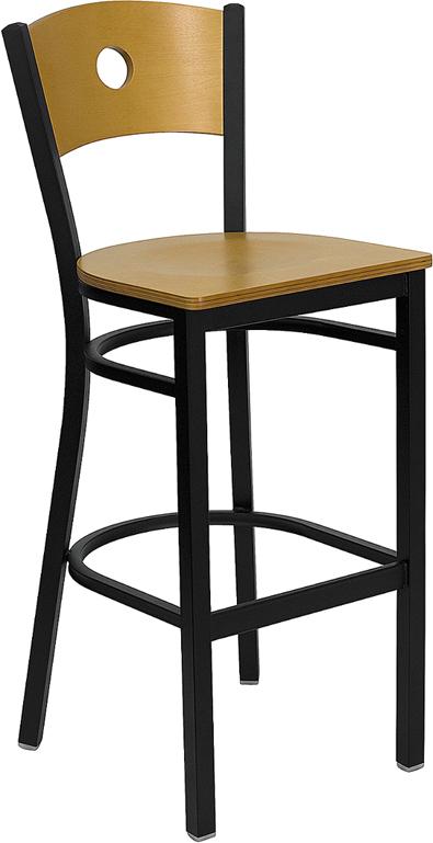 ERGONOMIC HOME TOUGH ENOUGH Series Black Circle Back Metal Restaurant Barstool - Natural Wood Back & Seat <b><font color=green>50% Off Read More Below...</font></b>