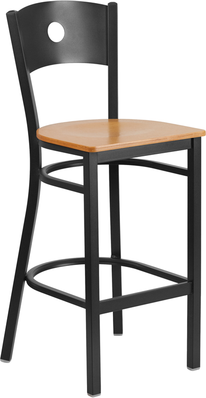 ERGONOMIC HOME TOUGH ENOUGH Series Black Circle Back Metal Restaurant Barstool - Natural Wood Seat <b><font color=green>50% Off Read More Below...</font></b>