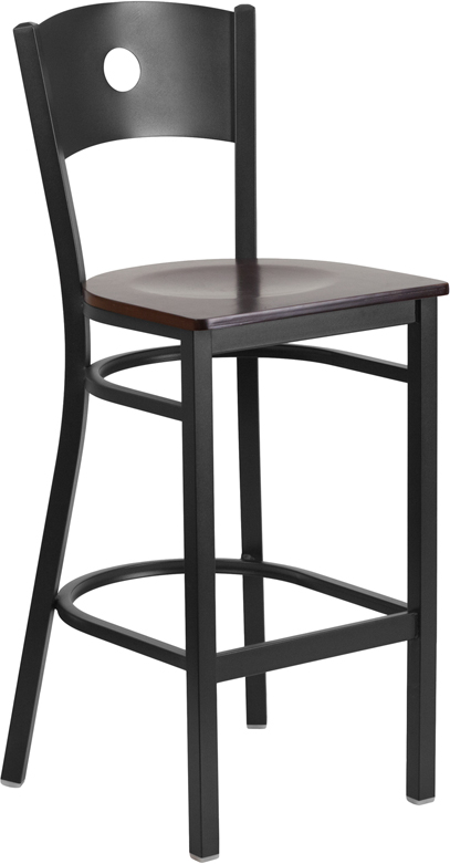 ERGONOMIC HOME TOUGH ENOUGH Series Black Circle Back Metal Restaurant Barstool - Walnut Wood Seat <b><font color=green>50% Off Read More Below...</font></b>