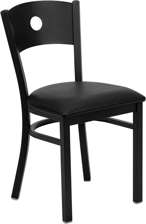 ERGONOMIC HOME TOUGH ENOUGH Series Black Circle Back Metal Restaurant Chair - Black Vinyl Seat <b><font color=green>50% Off Read More Below...</font></b>