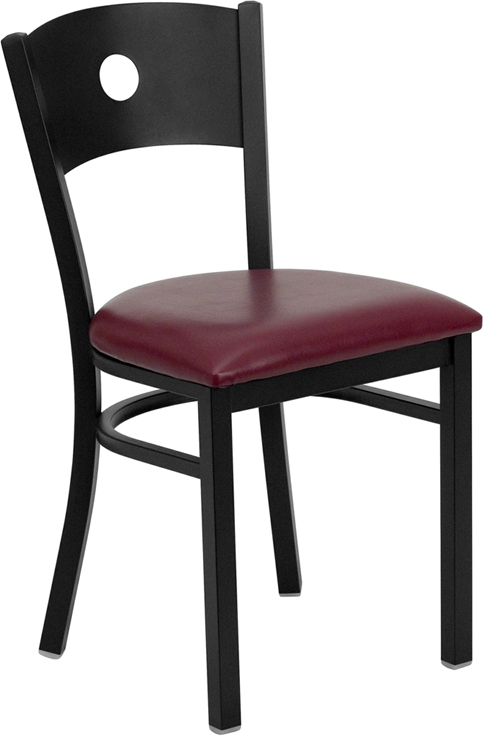 ERGONOMIC HOME TOUGH ENOUGH Series Black Circle Back Metal Restaurant Chair - Burgundy Vinyl Seat <b><font color=green>50% Off Read More Below...</font></b>