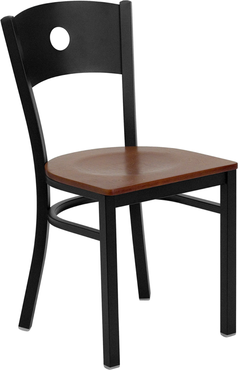 ERGONOMIC HOME TOUGH ENOUGH Series Black Circle Back Metal Restaurant Chair - Cherry Wood Seat <b><font color=green>50% Off Read More Below...</font></b>