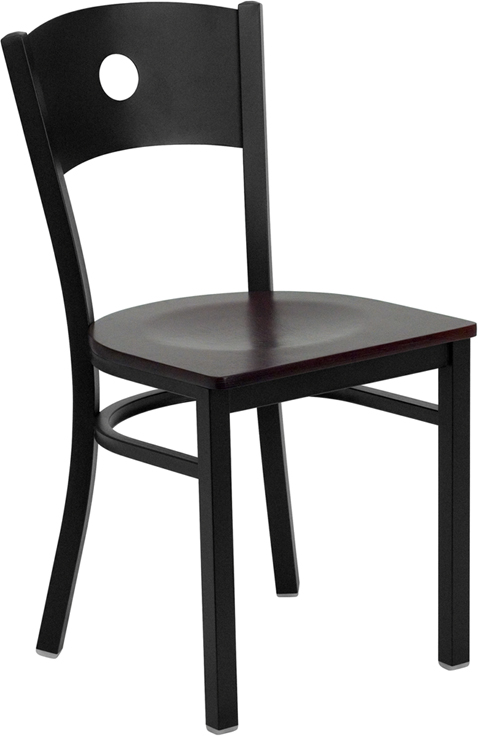 ERGONOMIC HOME TOUGH ENOUGH Series Black Circle Back Metal Restaurant Chair - Mahogany Wood Seat <b><font color=green>50% Off Read More Below...</font></b>
