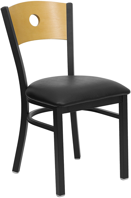 ERGONOMIC HOME TOUGH ENOUGH Series Black Circle Back Metal Restaurant Chair - Natural Wood Back, Black Vinyl Seat <b><font color=green>50% Off Read More Below...</font></b>