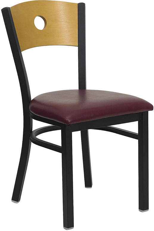 ERGONOMIC HOME TOUGH ENOUGH Series Black Circle Back Metal Restaurant Chair - Natural Wood Back, Burgundy Vinyl Seat <b><font color=green>50% Off Read More Below...</font></b>