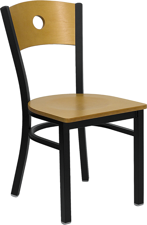 ERGONOMIC HOME TOUGH ENOUGH Series Black Circle Back Metal Restaurant Chair - Natural Wood Back & Seat <b><font color=green>50% Off Read More Below...</font></b>