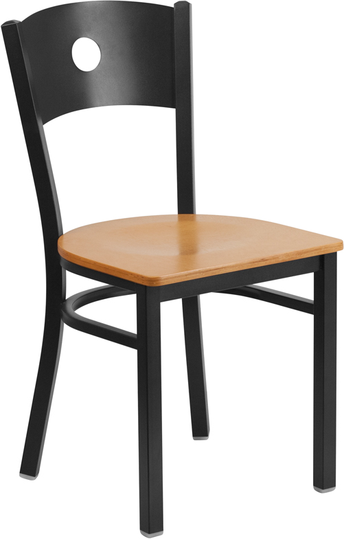 ERGONOMIC HOME TOUGH ENOUGH Series Black Circle Back Metal Restaurant Chair - Natural Wood Seat <b><font color=green>50% Off Read More Below...</font></b>