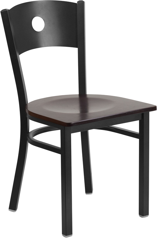 ERGONOMIC HOME TOUGH ENOUGH Series Black Circle Back Metal Restaurant Chair - Walnut Wood Seat <b><font color=green>50% Off Read More Below...</font></b>