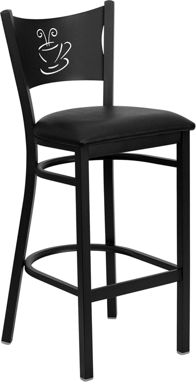 ERGONOMIC HOME TOUGH ENOUGH Series Black Coffee Back Metal Restaurant Barstool - Black Vinyl Seat