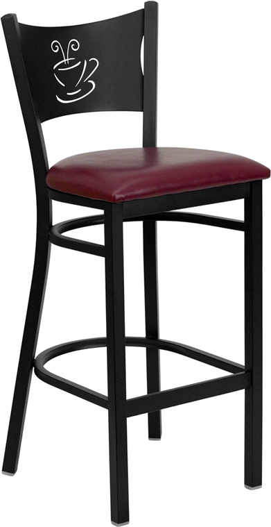 ERGONOMIC HOME TOUGH ENOUGH Series Black Coffee Back Metal Restaurant Barstool - Burgundy Vinyl Seat