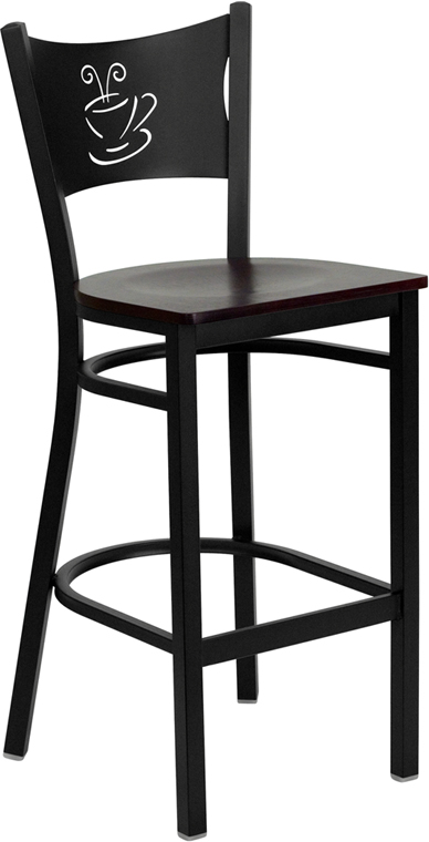 ERGONOMIC HOME TOUGH ENOUGH Series Black Coffee Back Metal Restaurant Barstool - Mahogany Wood Seat