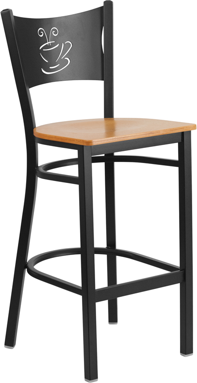 ERGONOMIC HOME TOUGH ENOUGH Series Black Coffee Back Metal Restaurant Barstool - Natural Wood Seat