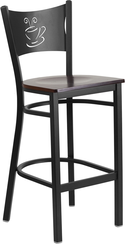 ERGONOMIC HOME TOUGH ENOUGH Series Black Coffee Back Metal Restaurant Barstool - Walnut Wood Seat