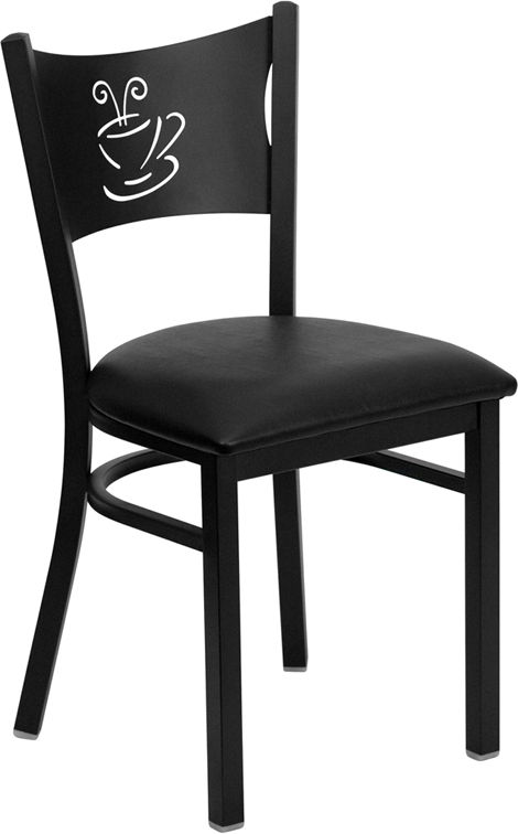 ERGONOMIC HOME TOUGH ENOUGH Series Black Coffee Back Metal Restaurant Chair - Black Vinyl Seat