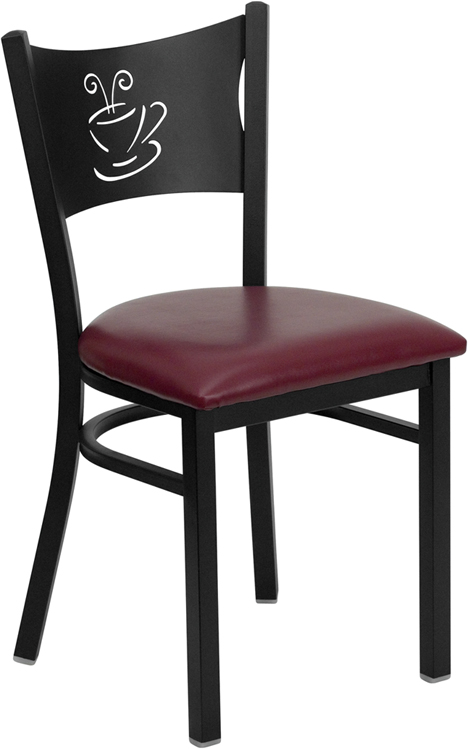 ERGONOMIC HOME TOUGH ENOUGH Series Black Coffee Back Metal Restaurant Chair - Burgundy Vinyl Seat