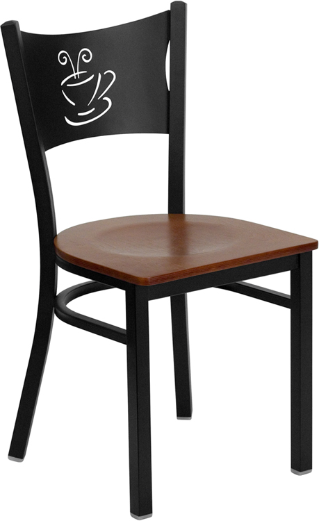 ERGONOMIC HOME TOUGH ENOUGH Series Black Coffee Back Metal Restaurant Chair - Cherry Wood Seat