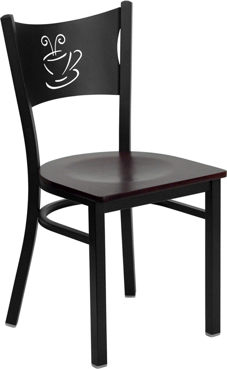 ERGONOMIC HOME TOUGH ENOUGH Series Black Coffee Back Metal Restaurant Chair - Mahogany Wood Seat