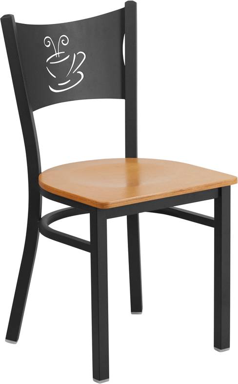 ERGONOMIC HOME TOUGH ENOUGH Series Black Coffee Back Metal Restaurant Chair - Natural Wood Seat