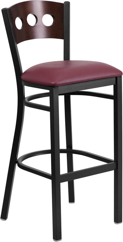 ERGONOMIC HOME TOUGH ENOUGH Series Black Decorative 3 Circle Back Metal Restaurant Barstool - Walnut Wood Back, Burgundy Vinyl Seat <b><font color=green>50% Off Read More Below...</font></b>