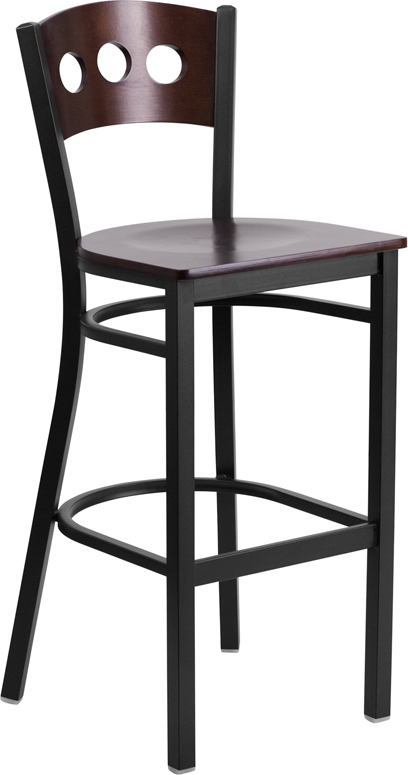 ERGONOMIC HOME TOUGH ENOUGH Series Black Decorative 3 Circle Back Metal Restaurant Barstool - Walnut Wood Back & Seat <b><font color=green>50% Off Read More Below...</font></b>
