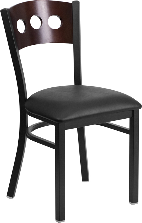 ERGONOMIC HOME TOUGH ENOUGH Series Black Decorative 3 Circle Back Metal Restaurant Chair - Walnut Wood Back, Black Vinyl Seat <b><font color=green>50% Off Read More Below...</font></b>
