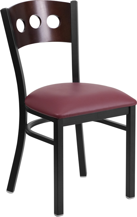 ERGONOMIC HOME TOUGH ENOUGH Series Black Decorative 3 Circle Back Metal Restaurant Chair - Walnut Wood Back, Burgundy Vinyl Seat <b><font color=green>50% Off Read More Below...</font></b>
