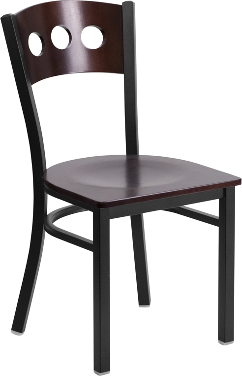ERGONOMIC HOME TOUGH ENOUGH Series Black Decorative 3 Circle Back Metal Restaurant Chair - Walnut Wood Back & Seat <b><font color=green>50% Off Read More Below...</font></b>