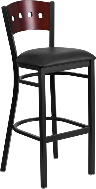 ERGONOMIC HOME TOUGH ENOUGH Series Black Decorative 4 Square Back Metal Restaurant Barstool - Mahogany Wood Back, Black Vinyl Seat <b><font color=green>50% Off Read More Below...</font></b>