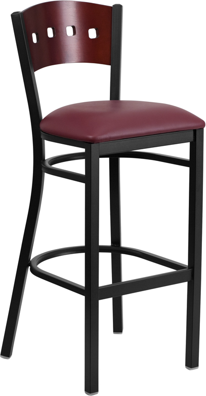 ERGONOMIC HOME TOUGH ENOUGH Series Black Decorative 4 Square Back Metal Restaurant Barstool - Mahogany Wood Back, Burgundy Vinyl Seat <b><font color=green>50% Off Read More Below...</font></b>