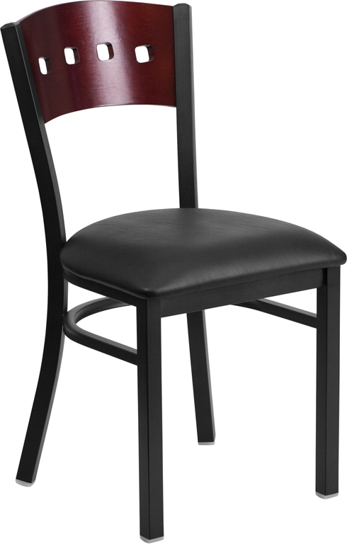 ERGONOMIC HOME TOUGH ENOUGH Series Black Decorative 4 Square Back Metal Restaurant Chair - Mahogany Wood Back, Black Vinyl Seat <b><font color=green>50% Off Read More Below...</font></b>