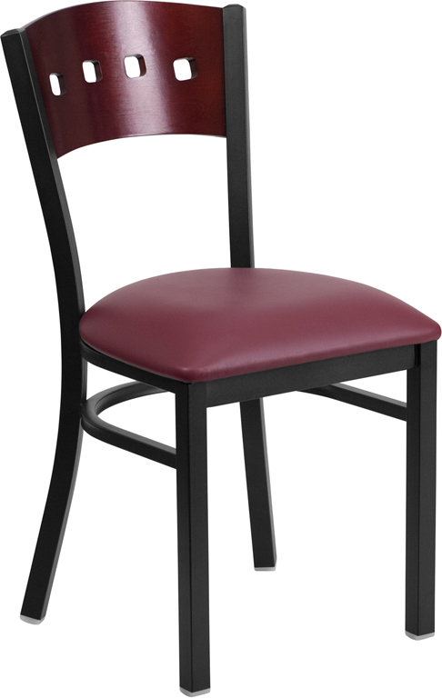 ERGONOMIC HOME TOUGH ENOUGH Series Black Decorative 4 Square Back Metal Restaurant Chair - Mahogany Wood Back, Burgundy Vinyl Seat <b><font color=green>50% Off Read More Below...</font></b>
