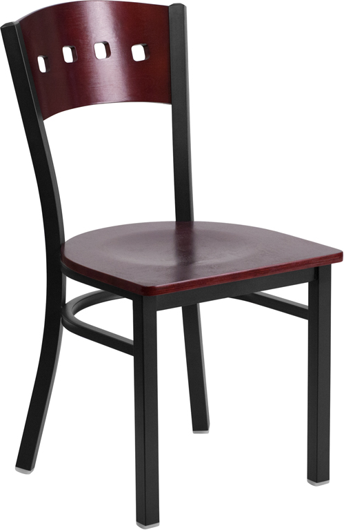 ERGONOMIC HOME TOUGH ENOUGH Series Black Decorative 4 Square Back Metal Restaurant Chair - Mahogany Wood Back & Seat <b><font color=green>50% Off Read More Below...</font></b>