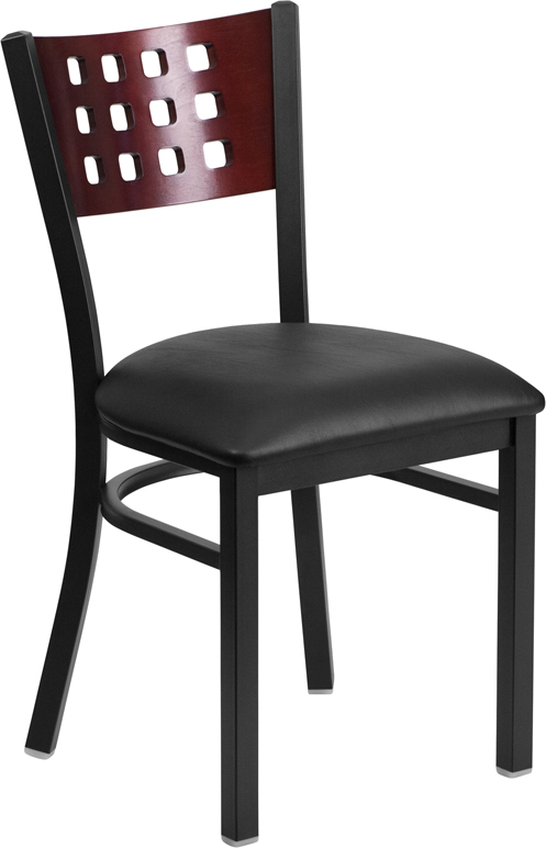 ERGONOMIC HOME TOUGH ENOUGH Series Black Decorative Cutout Back Metal Restaurant Chair - Mahogany Wood Back, Black Vinyl Seat <b><font color=green>50% Off Read More Below...</font></b>