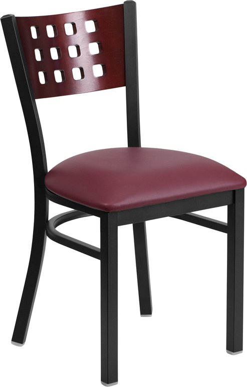 ERGONOMIC HOME TOUGH ENOUGH Series Black Decorative Cutout Back Metal Restaurant Chair - Mahogany Wood Back, Burgundy Vinyl Seat <b><font color=green>50% Off Read More Below...</font></b>