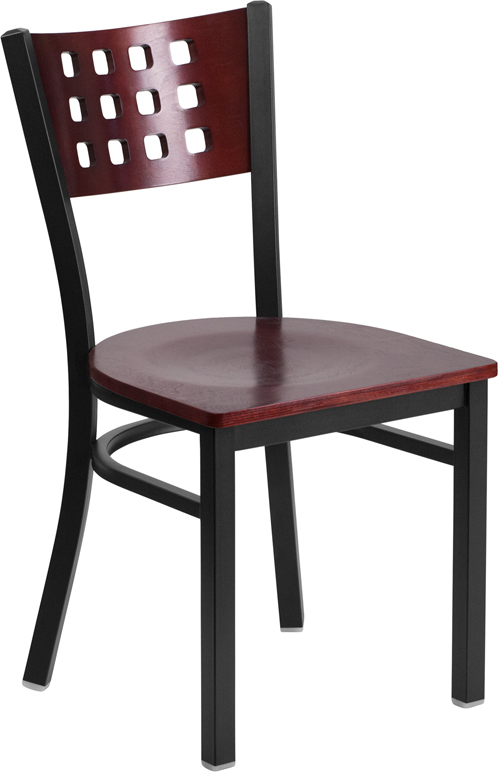 ERGONOMIC HOME TOUGH ENOUGH Series Black Decorative Cutout Back Metal Restaurant Chair - Mahogany Wood Back & Seat <b><font color=green>50% Off Read More Below...</font></b>