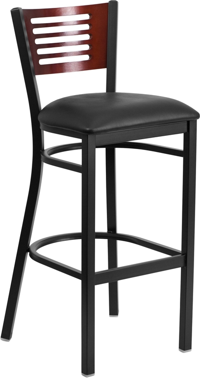 ERGONOMIC HOME TOUGH ENOUGH Series Black Decorative Slat Back Metal Restaurant Barstool - Mahogany Wood Back, Black Vinyl Seat <b><font color=green>50% Off Read More Below...</font></b>