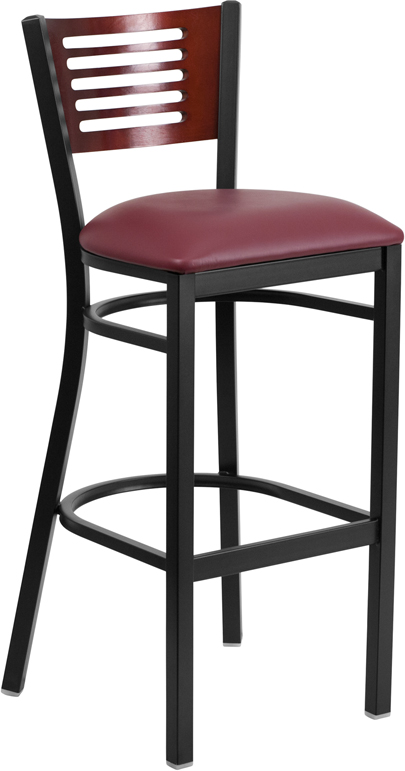ERGONOMIC HOME TOUGH ENOUGH Series Black Decorative Slat Back Metal Restaurant Barstool - Mahogany Wood Back, Burgundy Vinyl Seat <b><font color=green>50% Off Read More Below...</font></b>