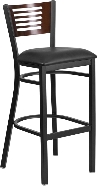 ERGONOMIC HOME TOUGH ENOUGH Series Black Decorative Slat Back Metal Restaurant Barstool - Walnut Wood Back, Black Vinyl Seat <b><font color=green>50% Off Read More Below...</font></b>