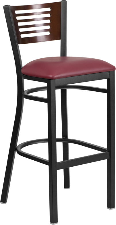 ERGONOMIC HOME TOUGH ENOUGH Series Black Decorative Slat Back Metal Restaurant Barstool - Walnut Wood Back, Burgundy Vinyl Seat <b><font color=green>50% Off Read More Below...</font></b>