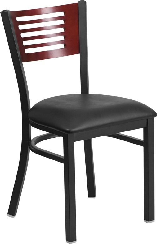 ERGONOMIC HOME TOUGH ENOUGH Series Black Decorative Slat Back Metal Restaurant Chair - Mahogany Wood Back, Black Vinyl Seat <b><font color=green>50% Off Read More Below...</font></b>