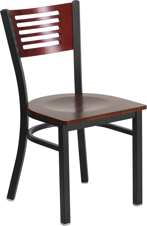 ERGONOMIC HOME TOUGH ENOUGH Series Black Decorative Slat Back Metal Restaurant Chair - Mahogany Wood Back & Seat <b><font color=green>50% Off Read More Below...</font></b>