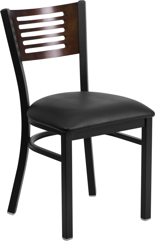 ERGONOMIC HOME TOUGH ENOUGH Series Black Decorative Slat Back Metal Restaurant Chair - Walnut Wood Back, Black Vinyl Seat <b><font color=green>50% Off Read More Below...</font></b>