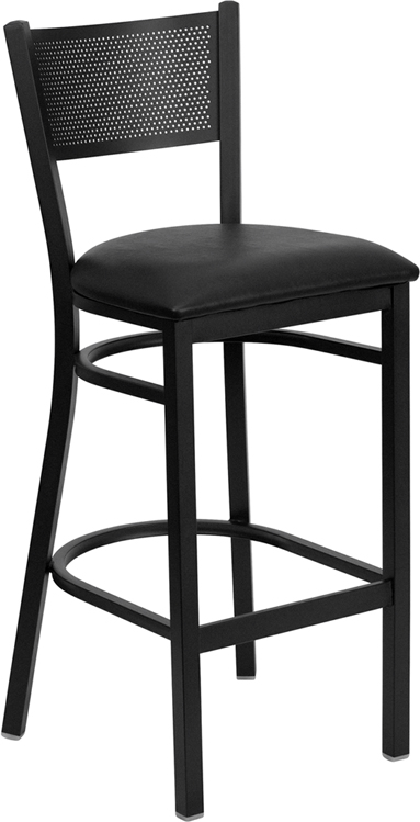 ERGONOMIC HOME TOUGH ENOUGH Series Black Grid Back Metal Restaurant Barstool - Black Vinyl Seat