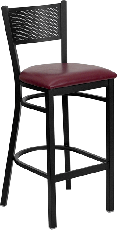 ERGONOMIC HOME TOUGH ENOUGH Series Black Grid Back Metal Restaurant Barstool - Burgundy Vinyl Seat