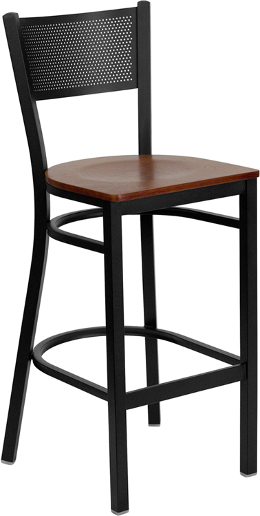 ERGONOMIC HOME TOUGH ENOUGH Series Black Grid Back Metal Restaurant Barstool - Cherry Wood Seat